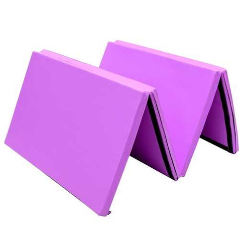 "4' x 10' x 2"" Thick Folding Panel Aerobics Exercise Gymnastics Mat-Purple"