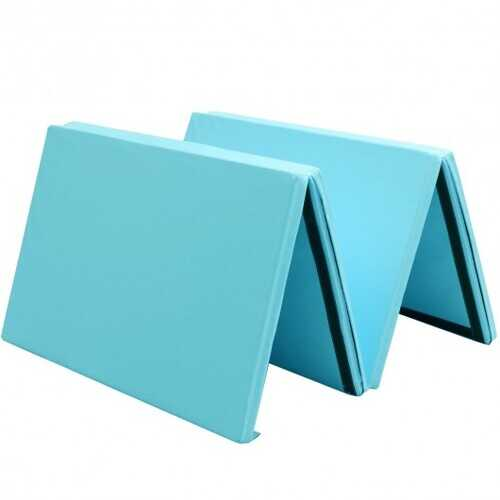 "4' x 10' x 2"" Thick Folding Panel Aerobics Exercise Gymnastics Mat-Blue"