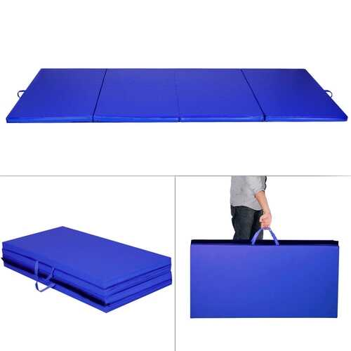 "4' x 8' x 2""  Folding Panel Exercise Gymnastics Mat-Blue"