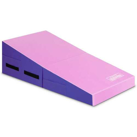 Folding Wedge Exercise Gymnastics Mat with Handles-Purple