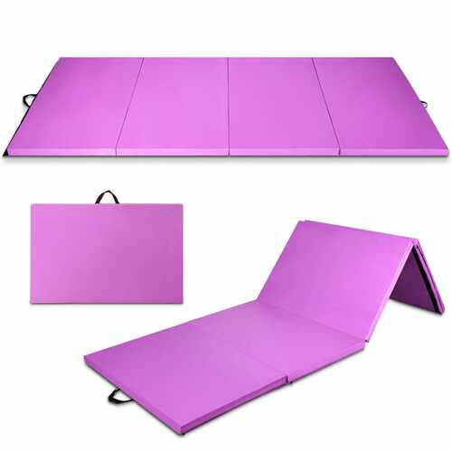 "8' x 4' x 2"" Folding Gymnastics Tumbling Mat-Purple"