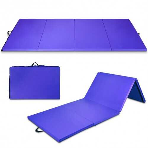 "4' x 10' x 2"" Folding Gymnastics Tumbling Gym Mat-Purple"
