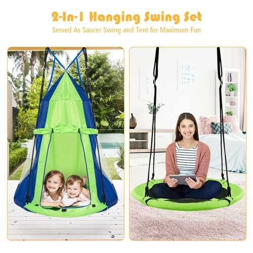 Kids Hanging Chair Swing Tent Set-Green
