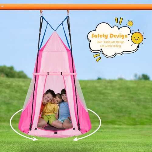 Kids Hanging Chair Swing Tent Set-Pink