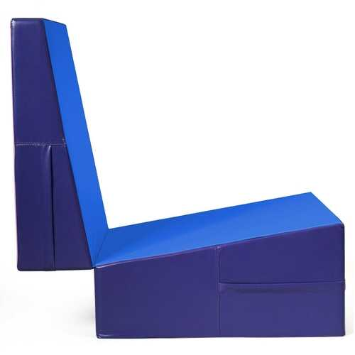 Folding Incline Tumbling Wedge Gymnastics Exercise Mat-Blue