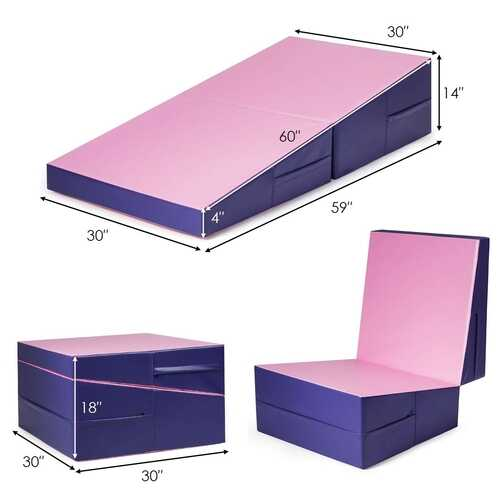 Folding Incline Tumbling Wedge Gymnastics Exercise Mat-Purple