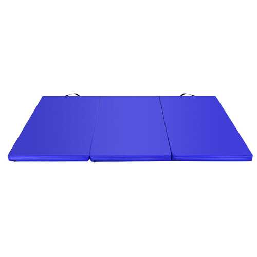 6' x 4' Tri-Fold Gymnastics Mat Thick Folding Panel-Blue