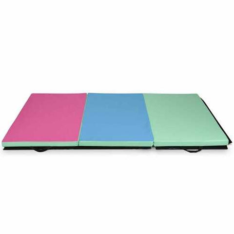 6' x 4' Tri-Fold Gymnastics Mat Thick Folding Panel-Multicolor
