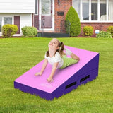 Incline Gymnastics Mat Wedge Ramp Gym Tumbling Exercise Mat-Pink & Purple
