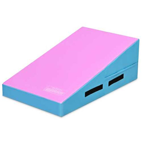 Incline Gymnastics Mat Wedge Ramp Gym Tumbling Exercise Mat-Pink & Blue