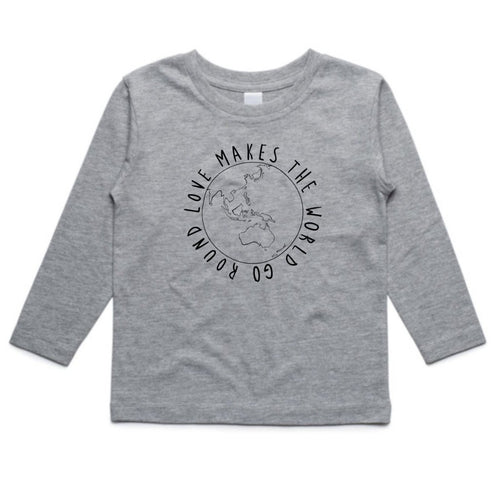 KIDS LONG SLEEVE TEE... LOVE MAKES THE WORLD GO ROUND