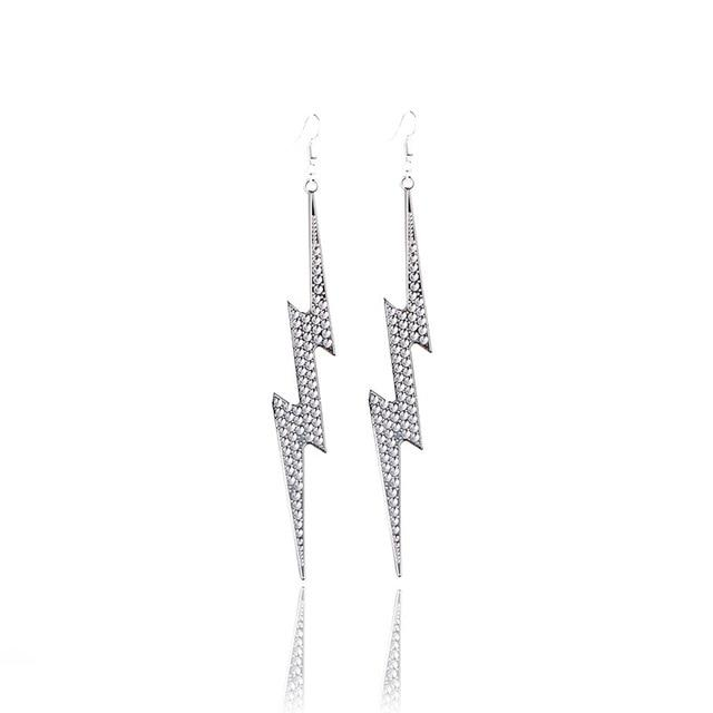 Dramatic Drop Lightning Bolt Earrings SUZYWAN DELUXE Silver