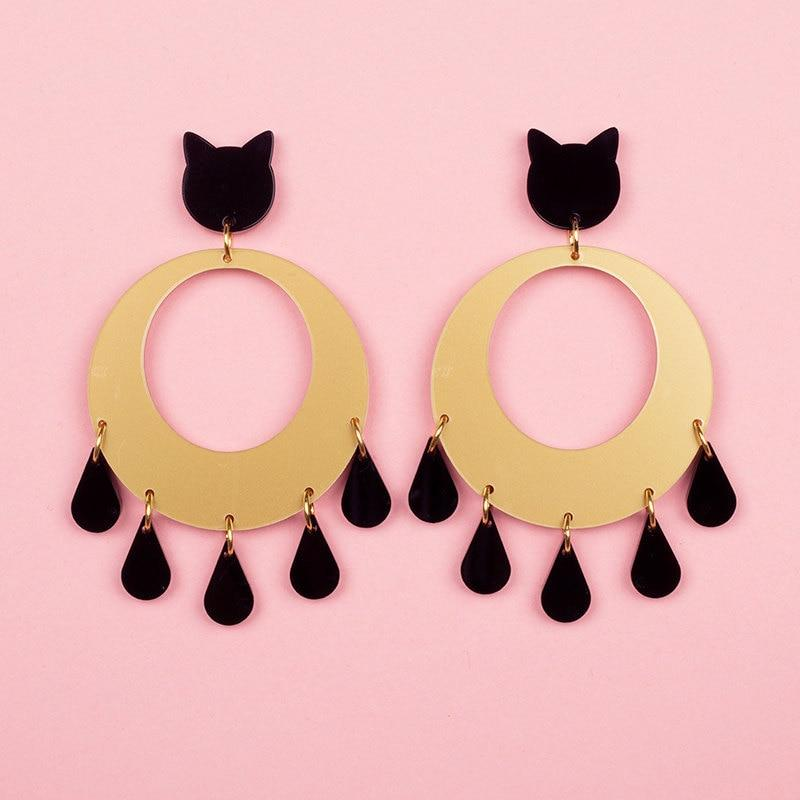 Dripping Black Cat Earrings SUZYWAN DELUXE