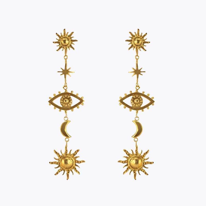 Bohemia Gold Evils Eye Earrings SUZYWAN DELUXE