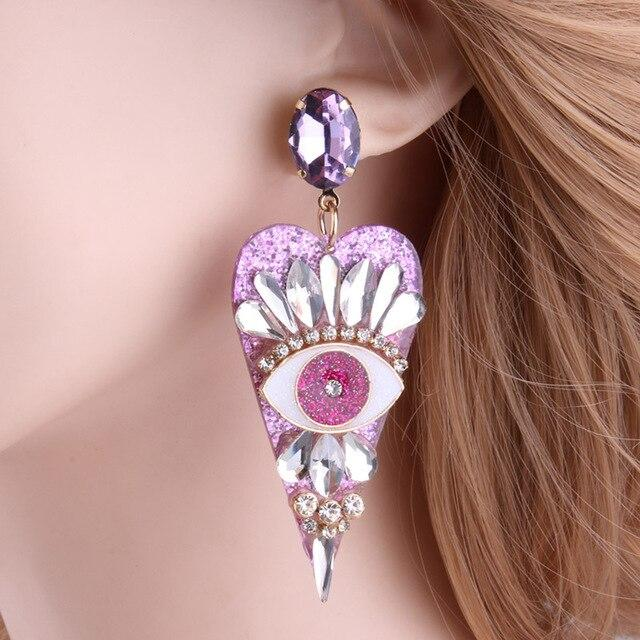 Eye for an eye Resin Heart shaped Earring SUZYWAN DELUXE pink