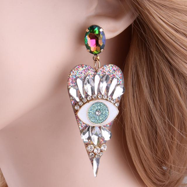 Eye for an eye Resin Heart shaped Earring SUZYWAN DELUXE Multicolored