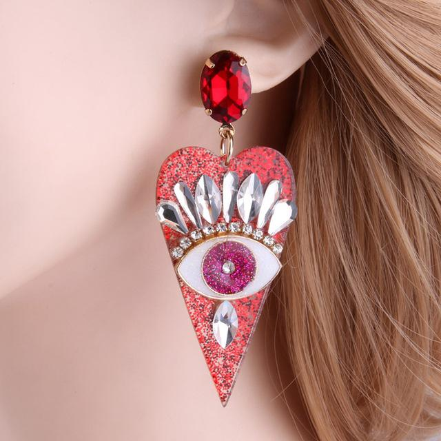 Eye for an eye Resin Heart shaped Earring SUZYWAN DELUXE red
