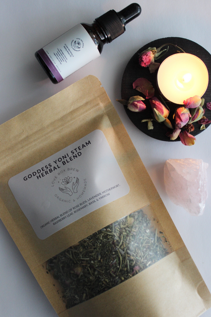 LOVE ISLA Yoni Steam Goddess Herbal Blend, La Luna Breast Nourishing Oil + Raw Rose Quartz, Full Gift Set