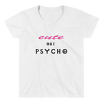 "Women's Casual V-Neck Shirt – ""Cute But Psycho"" - Shirtbadass"