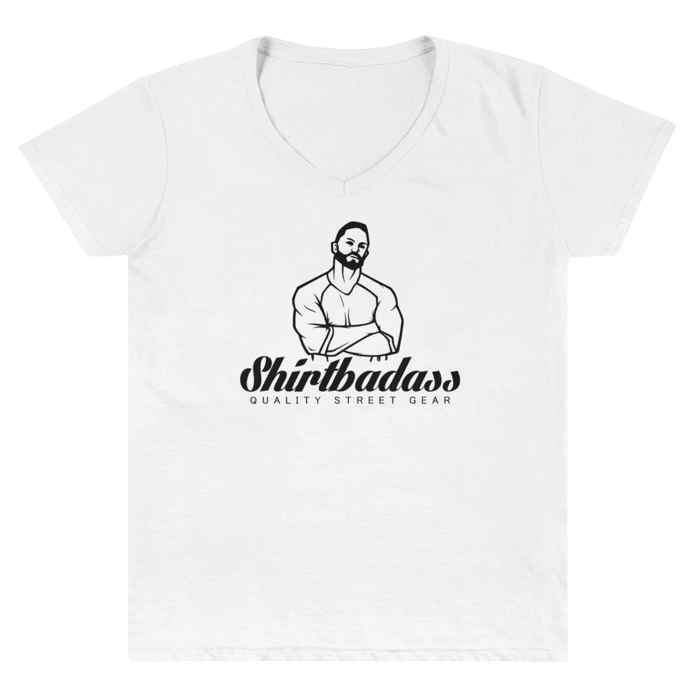 Women's Casual V-Neck Shirt- With Shirtbadass Lettering/-Logo - Shirtbadass