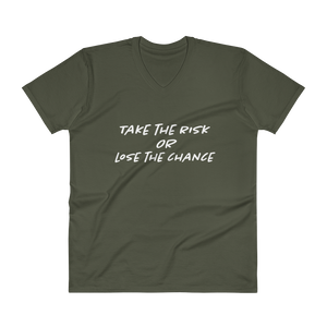 "Men's Casual V-Neck T-Shirt – ""Take The Risk Or Lose The Chance"" - Shirtbadass"