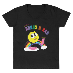 "Women's Casual V-Neck Shirt – ""Drugs R Bad"""