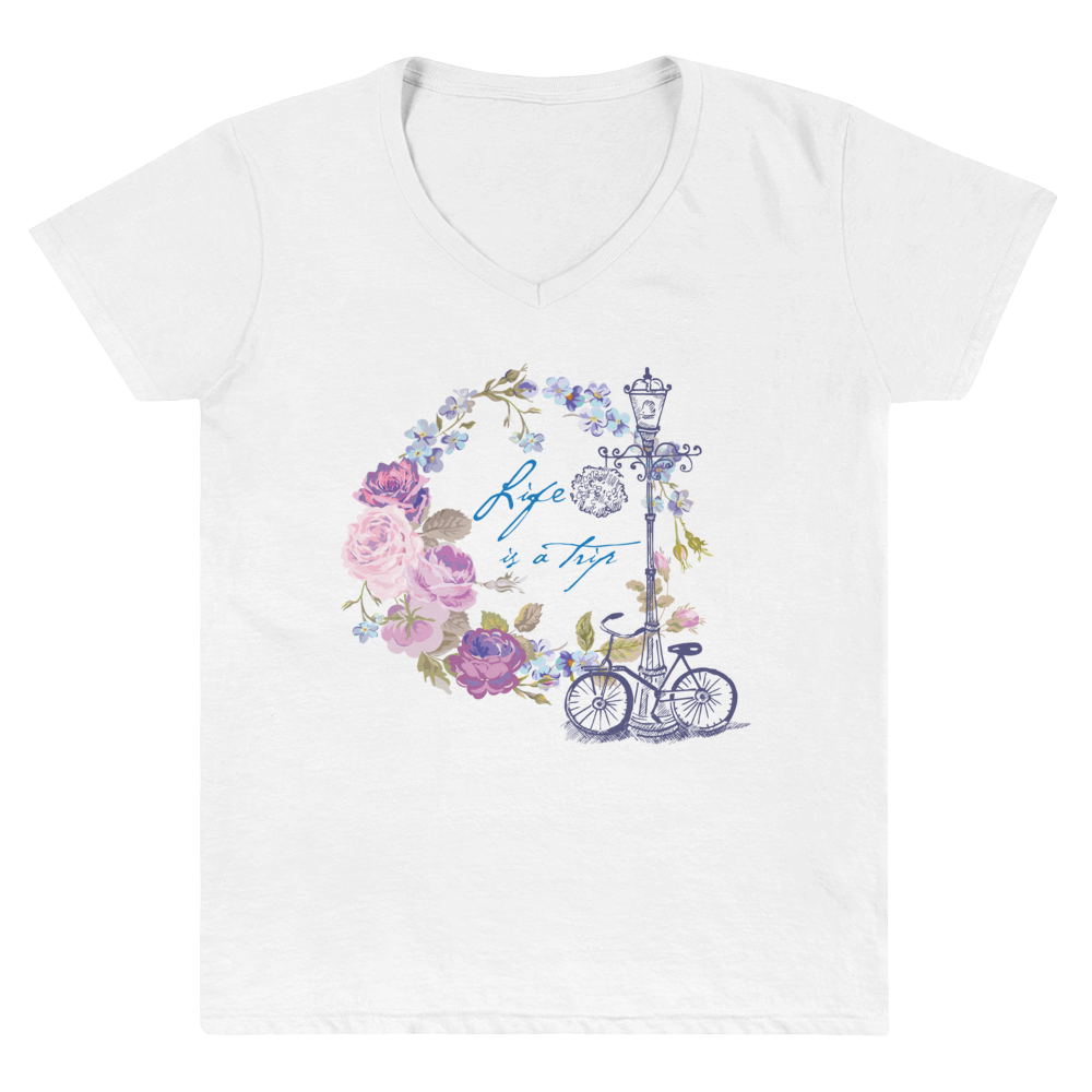 "Women's Casual V-Neck Shirt – ""Life is a trip"" - Shirtbadass"