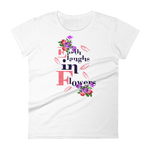 "Woman's Premium T-Shirt – ""Earth Laughs In Flowers"" - Shirtbadass"