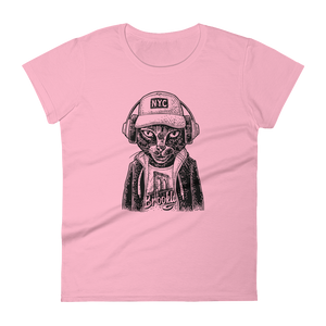 Woman's Premium T-Shirt – Brooklyn Badass-Cat - Charity Pink