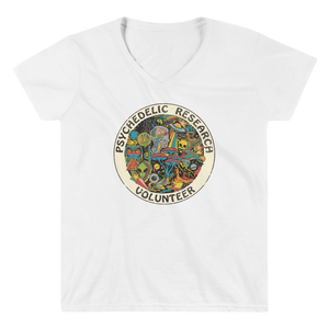 "Women's Casual V-Neck Shirt – ""Psychedelic Research Volunteer"""