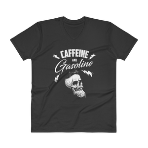"Men's Casual V-Neck T-Shirt – ""Caffeine And Gasoline"""