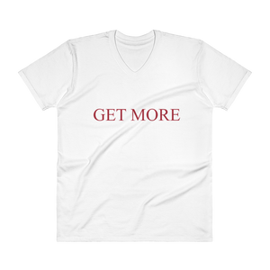 "Men's Casual V-Neck T-Shirt – ""Get More"" - White"