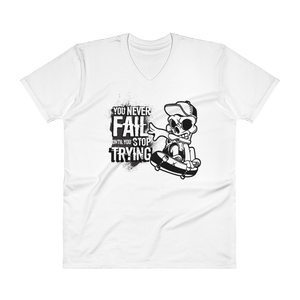 "Men's Casual V-Neck T-Shirt – ""You Never Fail Until You Stop Trying"" - Shirtbadass"