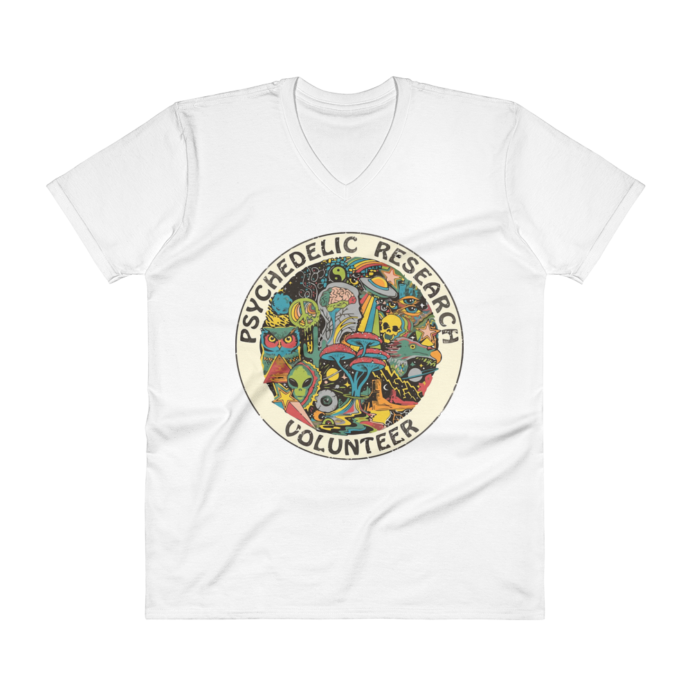 "Men's Casual V-Neck T-Shirt – ""Psychedelic Research Volunteer"""