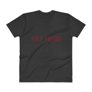 "Men's Casual V-Neck T-Shirt – ""Get More"" - Black"