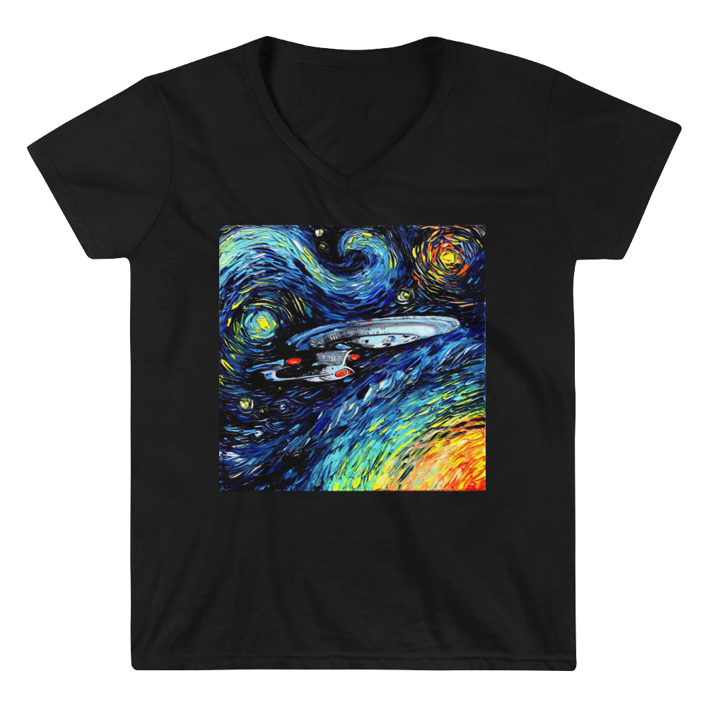 Women's Casual V-Neck Shirt – Enterprise Van Gogh Style