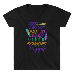 "Women's Casual V-Neck Shirt – ""There Are So Many Beautiful Reasons To Be Happy"". - Shirtbadass"