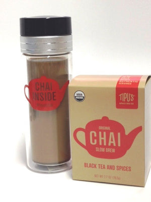 Load image into Gallery viewer, Tipu's Chai Glass 10 ounce Tumbler with Strainer Lid