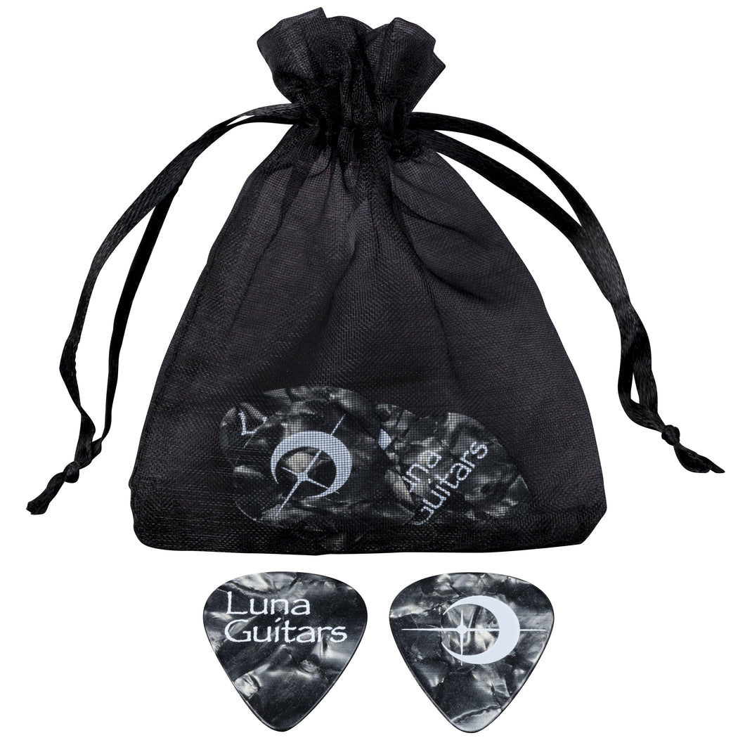 Luna Pick Medium Black Pearloid 6 Pack
