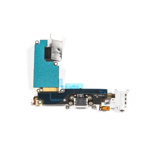 Charging Port & Headphone Jack Flex Cable White for iPhone 6 Plus