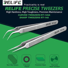 Load image into Gallery viewer, Relife RT-14A RT-14SA Mobile Phone Repair Tweezers Anti-static anti-slip clip high toughness precision fine tip plus chip repair