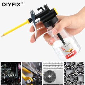DIYFIX 250ML Clear Oil Can Oiler Lubrication Oil Plastic Machine Pump High Pressure Transparent Oiler Grease Flex Gun