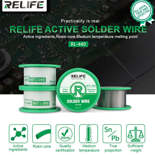 RELIFE Solder Wire 0.3/0.4/0.5/0.6mm Sn20/Pb80 Tin Wire 40g Melt Rosin Core Solder Soldering Wire Roll Reel Welding Line