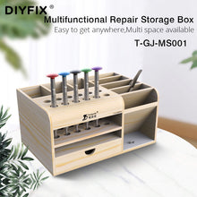 Load image into Gallery viewer, DIYFIX Multifunctional Wooden Storage Box Mobile Phone Repair Desktop Storage Screwdriver Tweezer Magnetic Holder Parts Box Tool