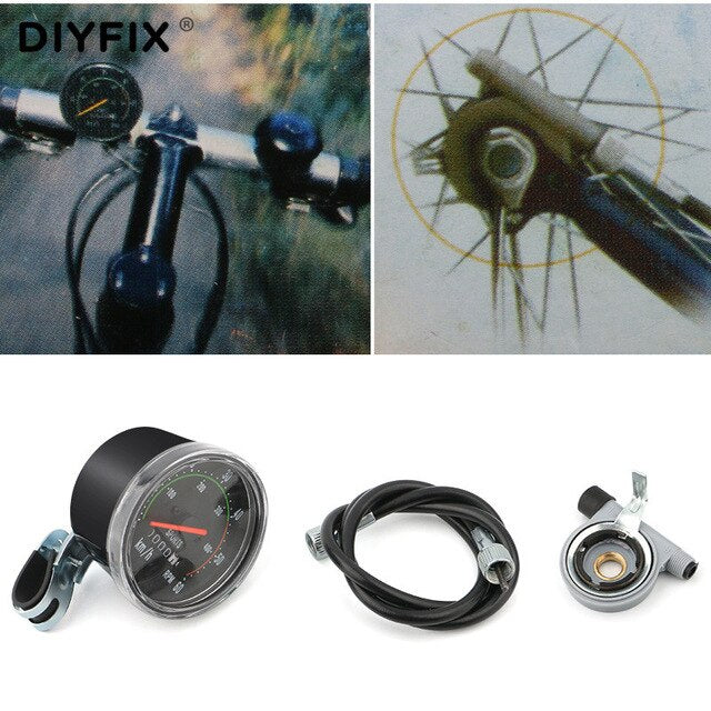 DIYFIX Round Mechanical Stopwatch Universal Waterproof Mltifunction Mechanical Odometer For Bicycle Bike Cycling Equipment