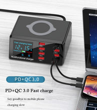 Load image into Gallery viewer, DIYFIX X9 Intelligent Multifucntion Charger With PD+QC 3.0 For iPhone Huawei Fast Wireless Charging USB Digital Display Tool Set