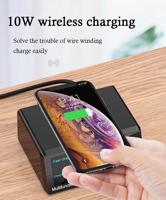 DIYFIX X9 Intelligent Multifucntion Charger With PD+QC 3.0 For iPhone Huawei Fast Wireless Charging USB Digital Display Tool Set