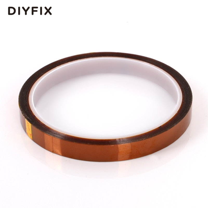 DIYFIX 10mm x 33m Heat Resistant Polyimide Tape High Temperature Adhesive Insulation Tape for BGA PCB SMT