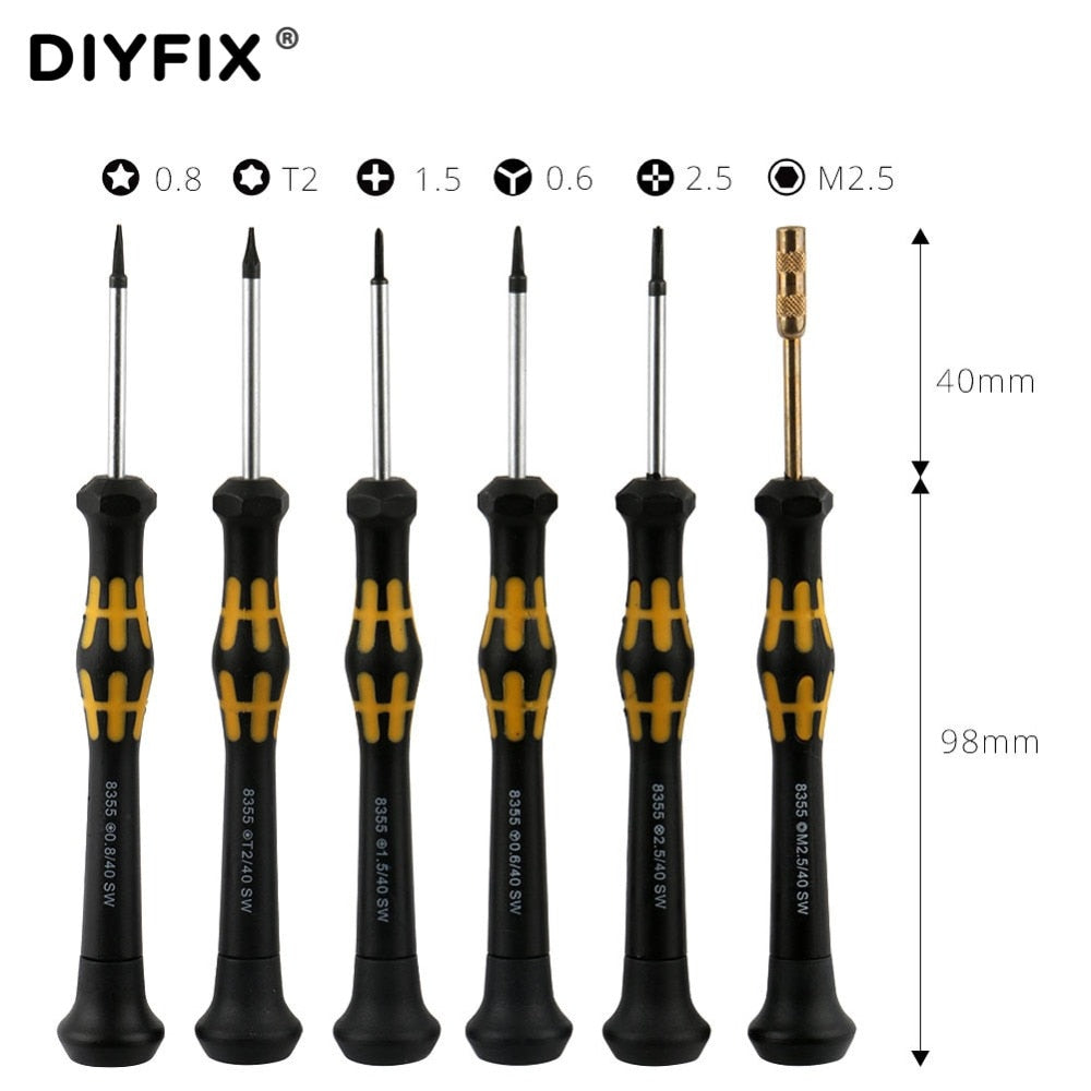 DIYFIX 6 in 1 Precision Magnetic Screwdriver Set Cross Hex Pentalobe Y-Tip for iPhone 7 Opening Repair Tools Kit DIY Tools Set