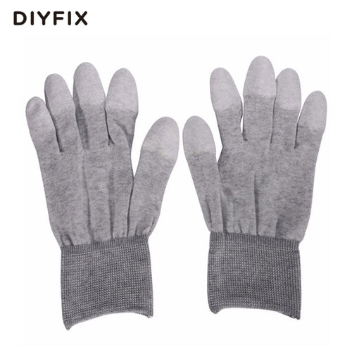DIYFIX 1 Pair ESD Safe Gloves Anti-static Anti-skid PU Finger Top Coated for Electronic Repair Works